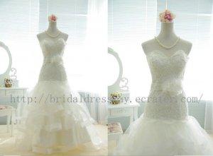 Custom Mermaid Lace Tulle Wedding Dress Sweetheart with flower Sash