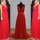 Straps V-neck Red Celebrity Full Length Evening Party Dress