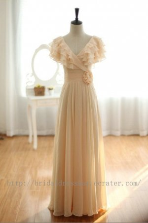 Champagne Ruffles Sleeves V-neckline Bridesmaid Dress Evening Party Gown