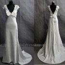 Slim A line V-neckline Satin Wedding Dress