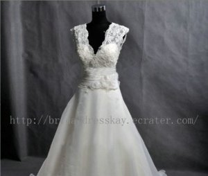 Ball Gown V neck Ivory Organza Skirt Lace Wedding Dress