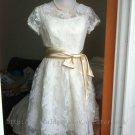 Vintage Lace Wedding Dress Cap Sleeves Knee Length Plus Size Bridal Gown