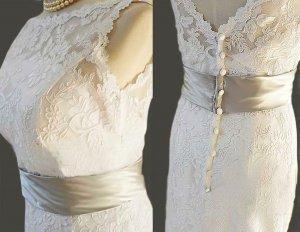 Custom make Vintage A LINE Lace Wedding Dress Bridal Gown
