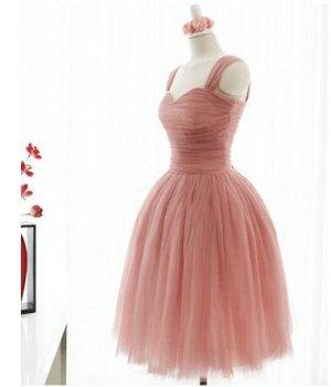 Custom Sweetheart Pink Bride Bridesmaids Wedding Dress Gown Tulle dress