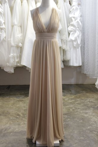 Sexy Deep V-neckline Wedding Bridesmaid Dress Prom Party Dress Gown