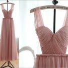Custom Blush Pink Peach Chiffon Sexy Wedding Dress Bridesmaid Dress Prom Dress
