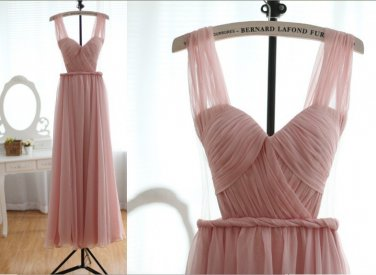 Custom Blush Pink Peach Chiffon Sexy Wedding Dress Bridesmaid Dress Prom Dress