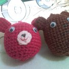 Rabbit and Bear Amigurumi Keychain
