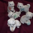 HOMCO Kitten Figurines LOT (5) Ceramic Yarn Ball---CUTE