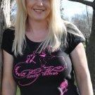 Lady Biker Hot Pink Art, Short Sleeve Shirt, Black $24.99