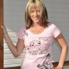 Lady Biker Black Design, Pink Shirt
