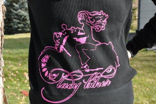 Lady Biker with Hot Pink Art, Thermal Hoodie, Black