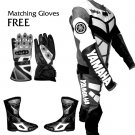 YAMAHA RACING LEATHER MOTOR BIKE MOTORCYCLE SUIT ALL SIZE JACKET, TROUSER, SHOES,WITH ANY LOGO