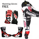 HONDA CBR RACING LEATHER MOTOR BIKE MOTORCYCLE SUIT ALL SIZE JACKET, TROUSER, SHOES, GLOVES