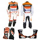 HONDA REPSOL MOTORBIKE MOTORCYCLE SUIT ORIGNAL COWHIDE LEATHER WITH FULL PROTECTION
