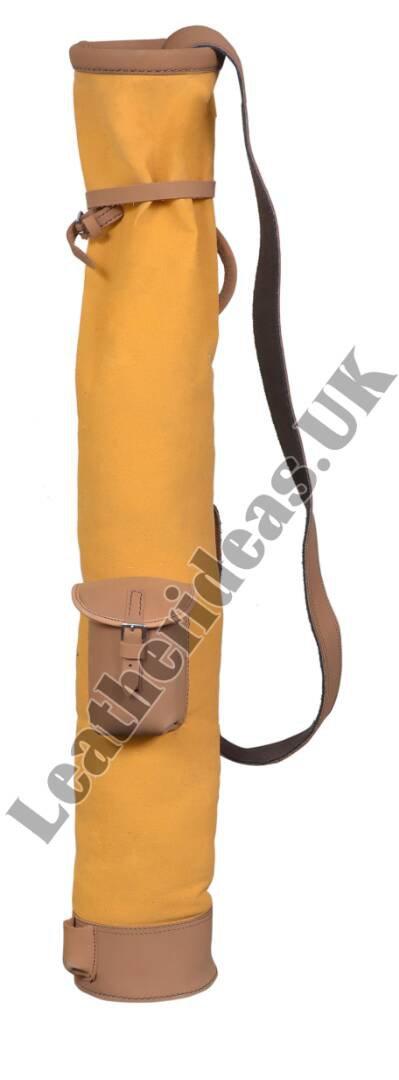 Tan Cowhide Leather Canvas Golf Club Ball Bag Single Pocket H-34 inch D5.5 inch