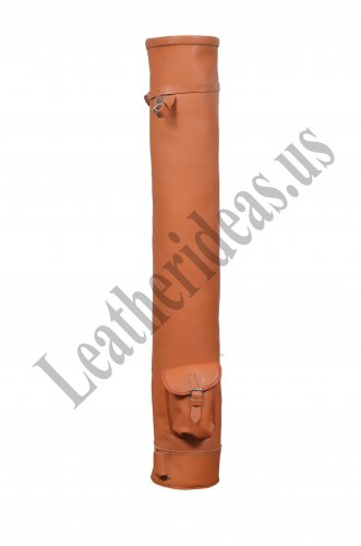 VINTAGE RETRO STYLE TAN LEATHER TUBE GOLF CLUB CARRYING BAG WITH SINGLE POCKET