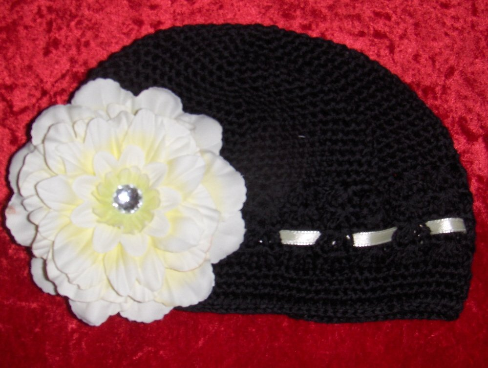 Black Crochet Hat with Yellow Flower