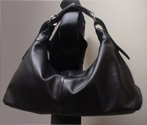 Italian Leather Horsebit Hobo Bag, Black