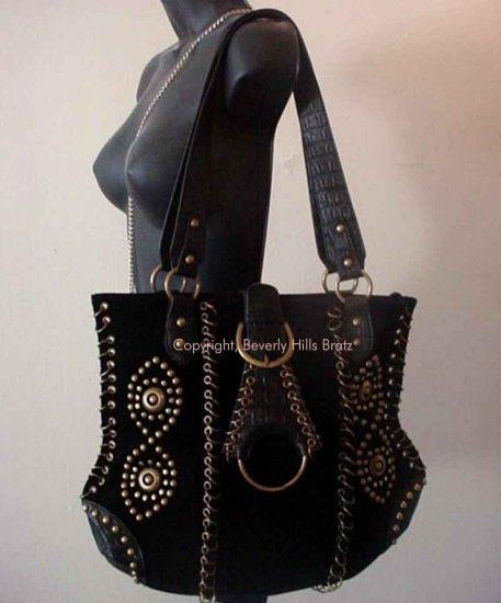 Suede Saddle Bag, Black  FREE Shipping