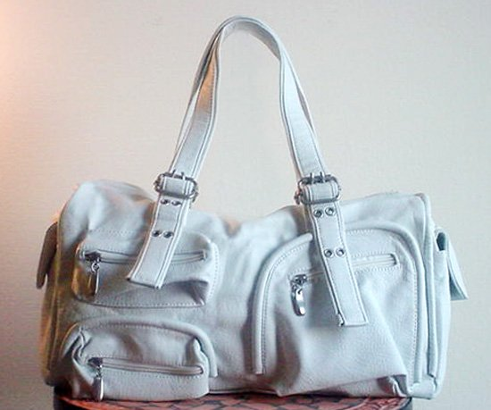 Leather Legacy Pocket Satchel, White FREE Shipping