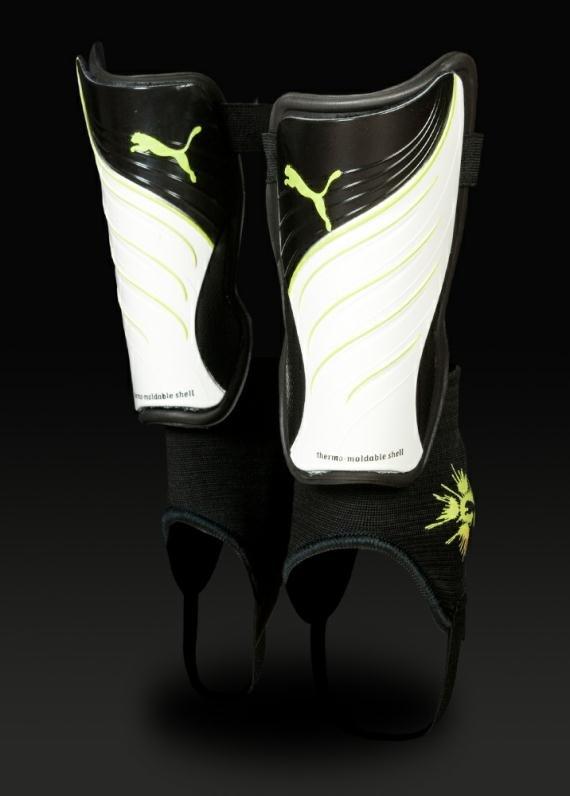 Puma PowerCat Pro Shinpads - White/Black/Wild Lime