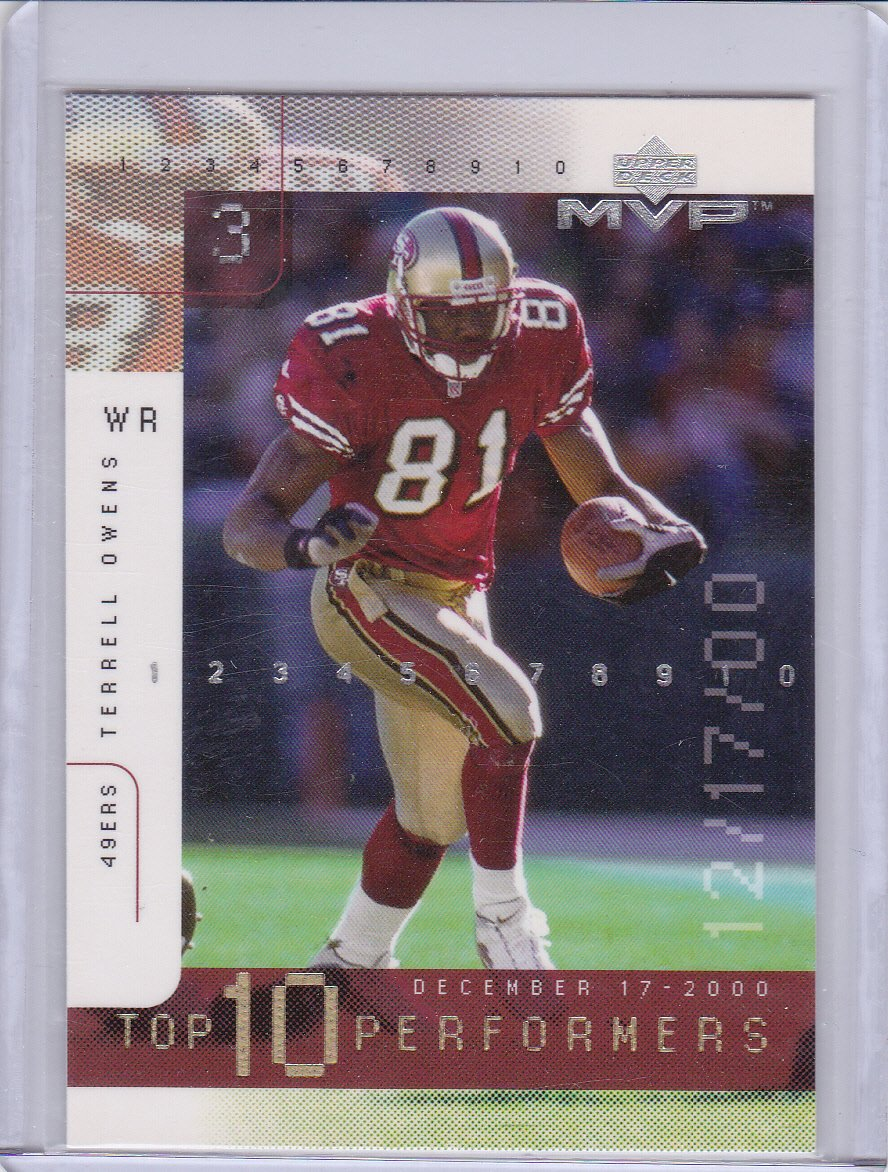 TERRELL OWENS 2001 UPPER DECK MVP TOP 10 PERFORMERS