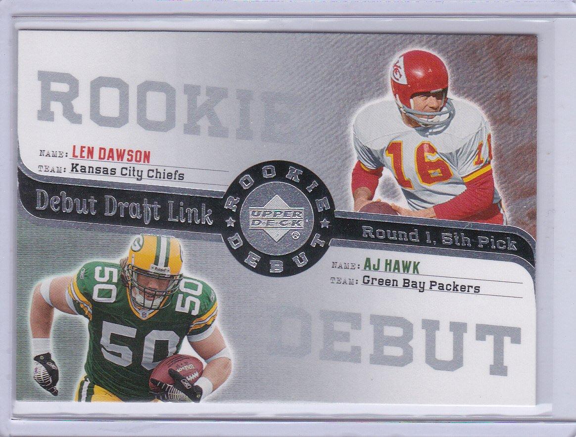 LEN DAWSON AJ HAWK 2006 UPPER DECK ROOKIE DEBUT DEBUT DRAFT LINK