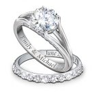 Diamond Personalized Engagement Ring And Wedding Band Set