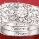 Engraved Diamond Women's Three Band Ring