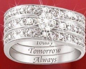 Engraved Diamond Women's Three Band Ring