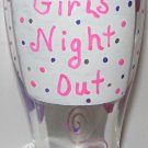 Girls Night Out Hand Painted Beer Pilsner Glass Bright Pink and Purple