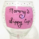 Mommys Sippy Cup Hand Painted Wine Glass In Pink and Black Polka Dots