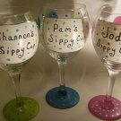 Name Your Glass and Color..Dots Hand Painted Wine Glass Bridesmaid Glasses Custom orders welcome