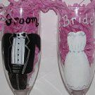 Bride And Groom Hand Painted Champagne Flute Set