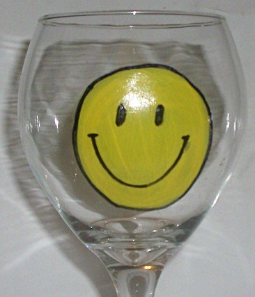 Smiley Smile Hand Painted Wine Glass