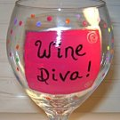 Wine Diva Hand Painted Wine Glass