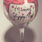 Mommys Sippy Cup Hand Painted Wine Glass In Pink Polka Dots