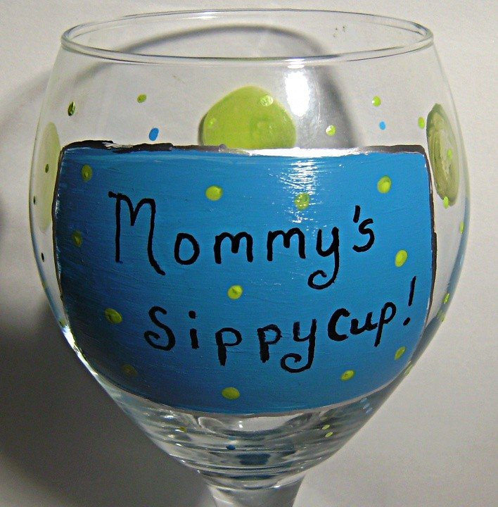 Mommys Sippy Cup Hand Painted Wine Glass In Blue