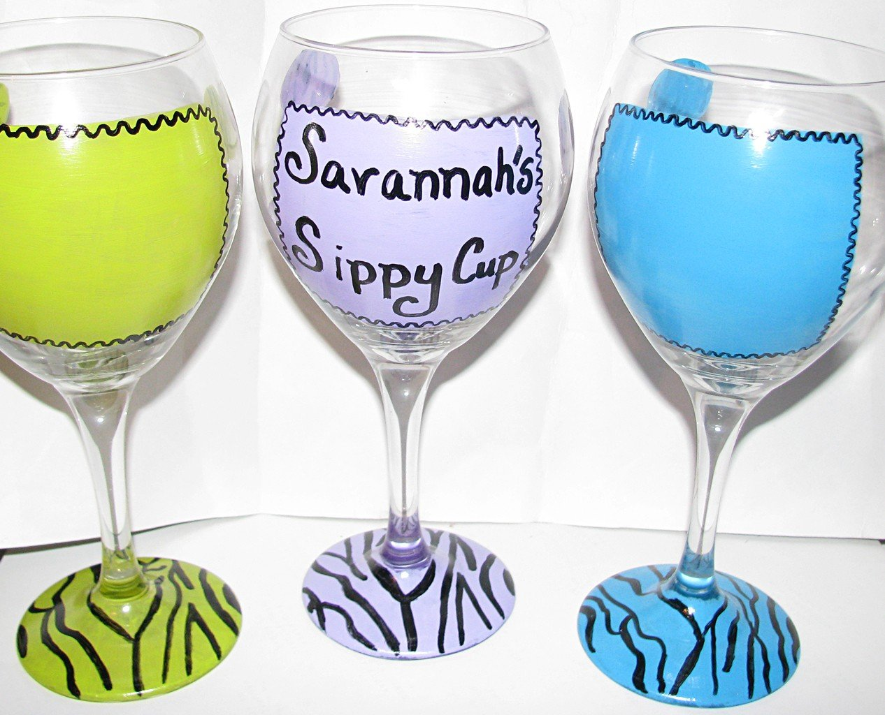 Design Your Glass... Zebra Stripes and Polka dots One Hand Painted Wine Glass Your Choice of Colors