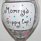 Mommys Sippy Cup Hand Painted Wine Glass With Polka Dots, Zebra design