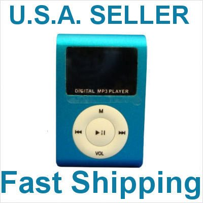New Blue Mini MP3 Player W/ LCD Screen Clip Micro SD TF Slot