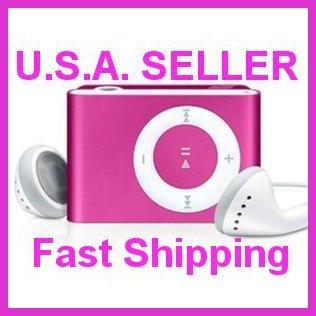 Pink Mini Clip Mp3 Player Support 8 GB Micro SD Card
