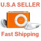 Orange Mini Clip Mp3 Player Support 8 GB Micro SD Card