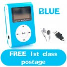 New Blue Mini MP3 Player W/ LCD Screen Clip Micro SD TF Slot