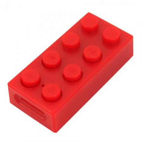1GB LEGO Block Mp3 Player Support Up To 8 GB Micro SD Card+ Earphones + USB Cables RED