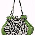 Exotic Zebra Flower Kiss Lock Bag