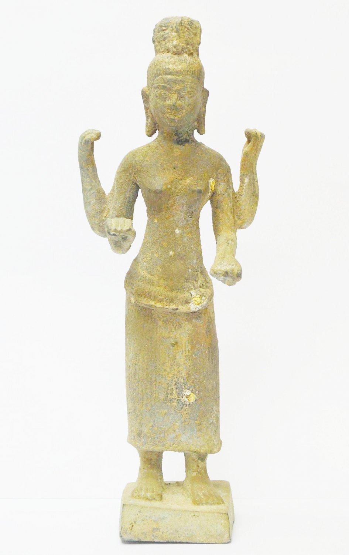 Asian Art Khmer Vintage Narayana 4 Arms Brass Cambodian Art Buddha Statue Style
