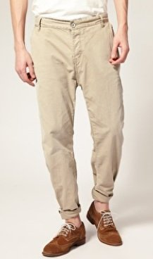 Drop crotch chino trousers
