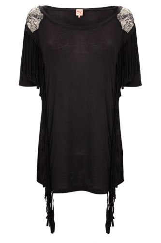 French Connection Black Gracie Jersey Fringe T-Shirt